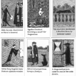 Cards from The Helpless Doorknob, Edward Gorey.